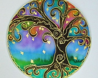 Rainbow Tree Mandala art,spiritual gifts, Tree of Light, mandala art,spiritual art, silk art, meditation art, tree of life art, pagan,wiccan