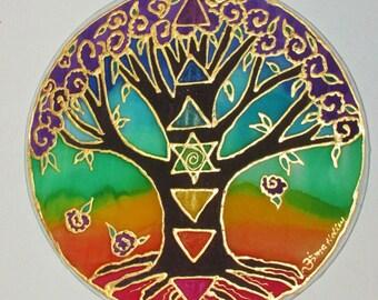 "rainbow chakra mandala art,spiritual gift, tree mandala, chakra Tree,""Tree of Well Being"", reiki art, silk art, tree art,  meditation"