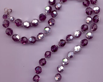 Long vintage crystal necklace - very rare Swarovski amethyst comet argent light