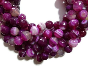 Fuchsia Faceted Striped Agate - 12mm Round Bead - Full Strand - 33 beads - pink magenta