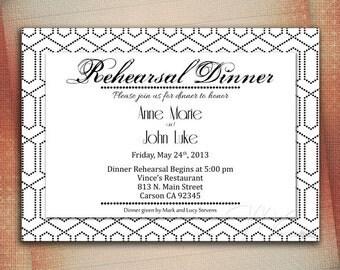 Rehearsal Dinner Invitation, Rehearsal Dinner Announcement, Customized Wedding Announcement - Digital File You Print