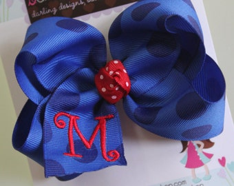 Red White and Blue Bow - monogrammed bow - July 4th bow -- royal blue jumbo polka dots