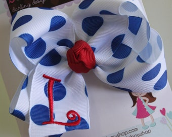 Monogrammed Bow- initial bow - July 4th bow -  white with royal blue polka dots -- red initial
