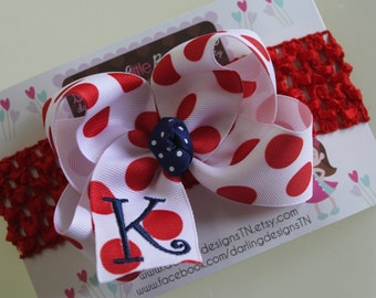 Monogrammed Bow and optional headband - initial bow - July 4th bow - white with red polka dots -- red and navy