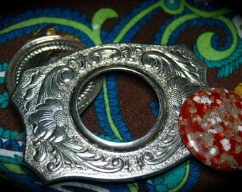 1970s Belt Buckle With Removable Stone