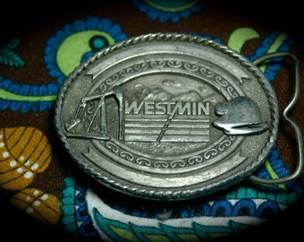 Great Old Westmin Mining Belt Buckle with Bottle Opener.
