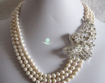 Pearl Necklace - 18-20 inch 3 Row 6-7mm White Freshwater Pearl Necklace X3290 - Free shipping