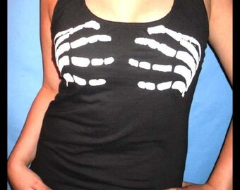 PLUS SIZE -  Womens Skeleton Hands On Breast Sexy Handmade Diy Custom Halter Top T shirt - Listing For Size 2XX