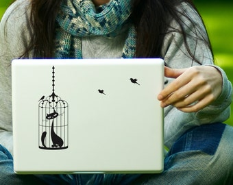 Cat in a Birdcage with 3 birds Decal Laptop Decal iPad