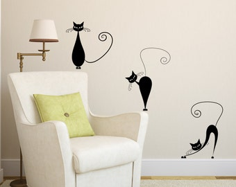Vinyl Wall Decal 3 Cute Cats Wall decals