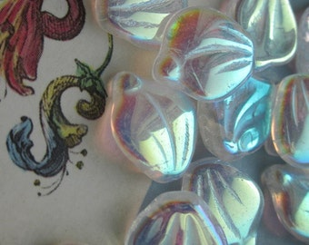 Curved Iridescent Clear Rainbow  Glass Czech Pressed Leaf Bead