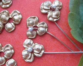 25 Little Tiny Brass Pansy Flowers