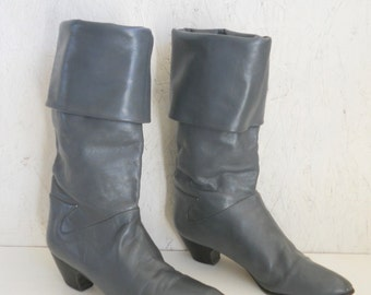SALE Vintage Italian Leather Boot . Dark Grey High/Low Boot by Hana Mackler 6 - 6.5