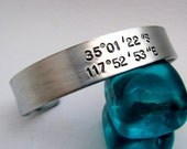 Cuff Bracelet - Mens Coordinates - Personalized Hand Stamped Jewelry - Longitude and Latitude - Mens Bracelet - Gift for him