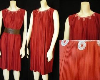 Vintage Fortuny -ish Pleat Sheath Dress in Gorgeous Cinnabar - OOAK Easy Flapper-ish Elegance Fun and Flirtiness - Setting the Cinnabar High