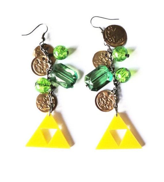Zelda Triforce Earrings, Rupees Treasure Retro Gaming Geekery