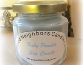 Soy Candle, Baby Powder, Blue, Pink, Yellow, Purple, White, 4 ounce, 12 sided jar, gold lid