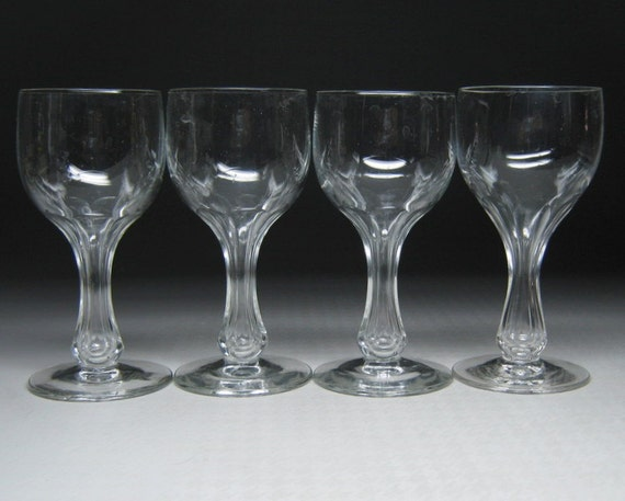 Set of 4 hollow stem wine glasses fostoria 863 by for Thin stem wine glasses