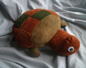 Adorable Vintage Leather Turtle plush, Orange/Green check with fuzzy belly