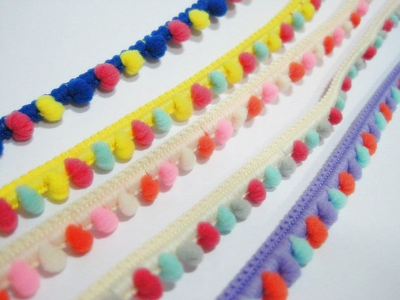 ... Pom Pom Trim, Colorful trim, Rainbow Trim, Pom Pom Yarn, Trim lot, Pom