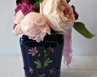 French Antique Style Art Nouveau or Style 1900 Blue Vase