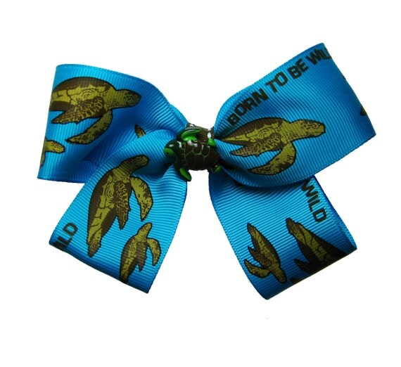 Large Sea Turtle Beachy Vacation Endangered Species Turquoise Hair Bow