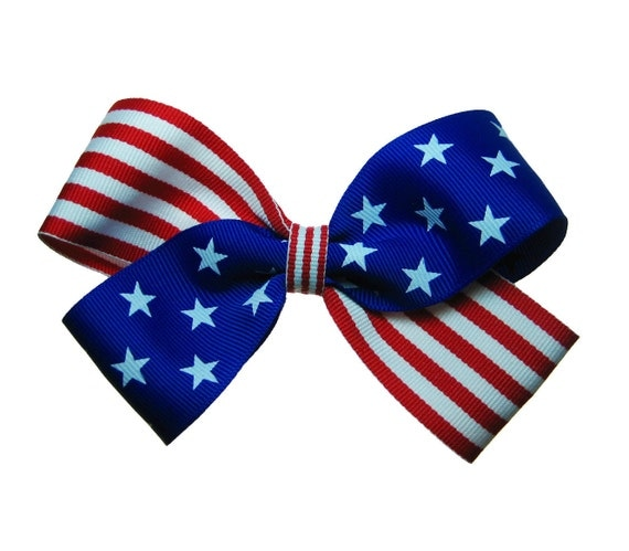 4th of July USA Flag Patriotic Large Hair Bow in Red White and Blue Stars and Stripes
