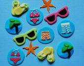 Fondant cupcake toppers  - beach pool birthday party (READY TO SHIP)