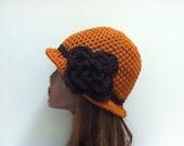 Crochet Cloche Flapper Hat - RUST/BROWN