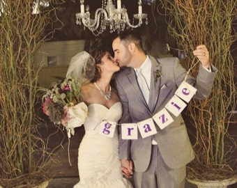 Wedding Banners , GRAZIE Banner , Wedding Decor , Grazie Sign , Thank You Card Banner , Italian Wedding Decor,You Choose the Colors