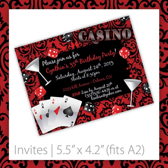 Invitation Wording SamplesCasino Night Place Cards