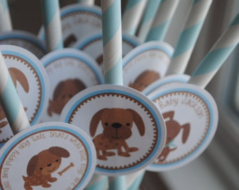NEW - Puppy Baby Shower Straws with tags