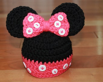 Crochet Minnie Mouse Inspired Beanie with Bow (Newborn, 3-6 month, & 6-12 month sizes) - hat, knit, newborn, girl, photo