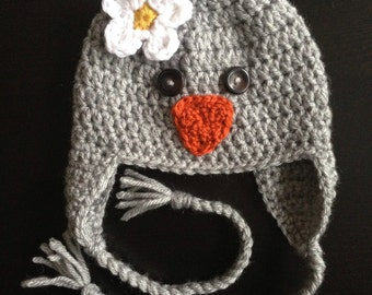 Crochet Spring Chick Beanie with Earflaps (Newborn, 3-6 month, & 6-12 month sizes)  - Knit, hat, baby, girl, boy, bird