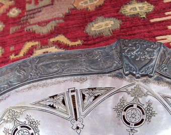 Silver Plate Serving Poole Numbered Intricate Piece Low Footed Plate