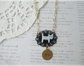 ON SALE  MOP Cat on Black Frame Necklace