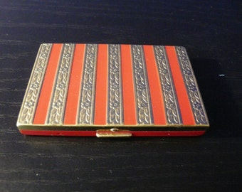 Red Enamel and Goldtone Floral Stripe Powder Compact