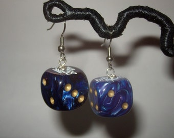 Dice earrings Blue and purple pearl swirl upcycled toy earrings recycled kitsch kawaii colorful funny gamer ochre pips plastic earrings