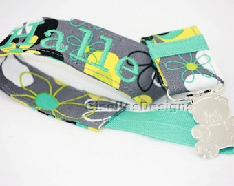 Floral teal and grey Personalized Pacifier Clip, Baby shower gifts.