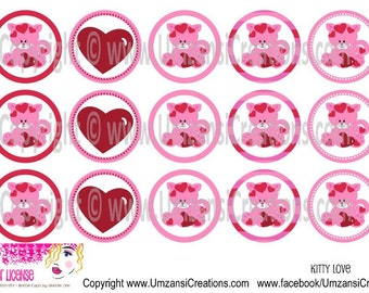 "15 Kitty Love Digital Download for 1"" Bottle Caps (4x6)"