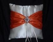 White Orange Square Satin Ring Bearer Pillow Bow Crystal Flower Wedding Bridal