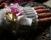 Cashmere elegant wrist cuff softest grey  with lace and silk flowers, edwardian victorian winter warmers