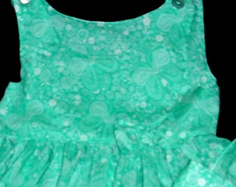 Toddler Girls Butterfly Print  Ruffled Dress & Purse Set Green and White Soft Lightweight Fabric   Size 3T