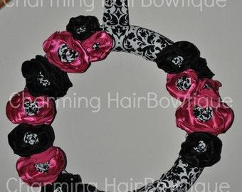 Fancy Custom Damask Wreath with Rosette centers