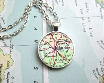 Vintage Map Pendant, Customized Map Necklace, Map Jewelry