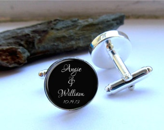 Groom Cufflinks, Wedding Cufflinks, Customized With Names And Date