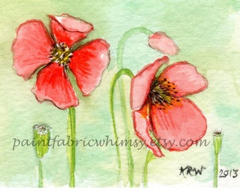 Original Art ACEO - Miniature Matted Watercolor Collectible - Fire Poppy