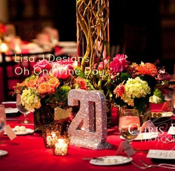 "TABLE NUMBERS GLITTERED 8"" Wedding Decor"