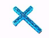 SALE Turquoise Blue Rhinestone Sideways Cross Bracelet Connector