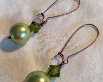 Lime Green Pearl & Swarovski Crystal Drop Earrings